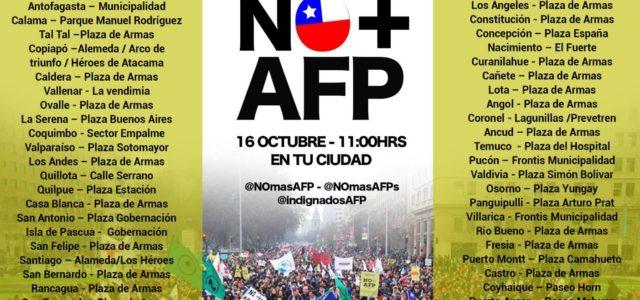 El próximo domingo 16 de octubre en todas las ciudades de Chile marchamos para demandar NO + AFP.