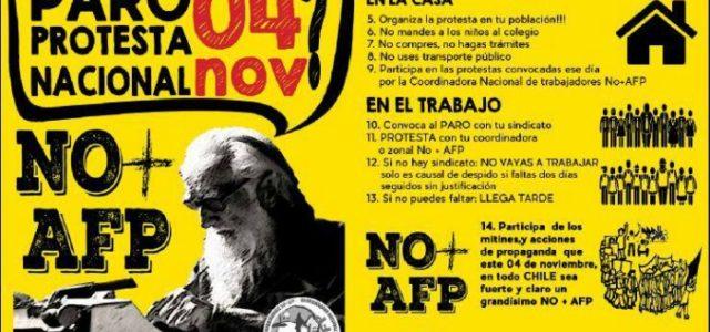 A PARAR CHILE EL 4 NOVIEMBRE CON LA FUERZA Y ORGANIZACIÓN DE L@S TRABAJADOR@S Y EL MOVIMIENTO SOCIAL