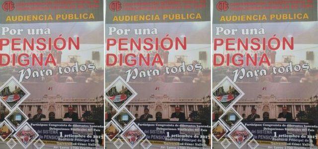 Perú – Trabajadores estatales convocan a Audiencia por una Pensión Digna