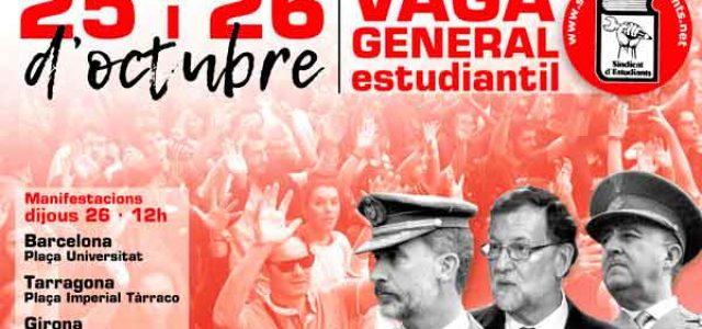 Catalunya – ¡25 y 26 de octubre: huelga general estudiantil contra la represión franquista y el 155!