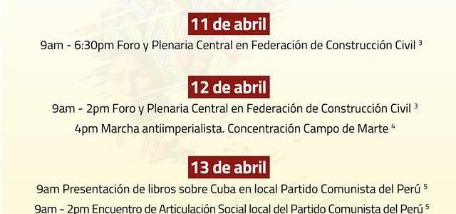 Cumbre de los Pueblos en Lima Perú  .Programa