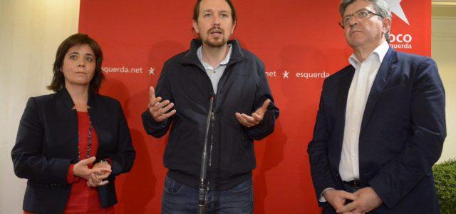 """Podemos, Francia Insumisa y Bloco impulsan un movimiento político internacional """"frente a un orden caduco""""."""