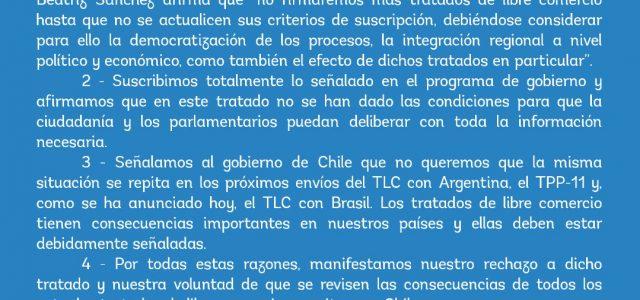 Frente Amplio rechaza el TLC Chile Uruguay y advierte rechazo a nuevos TLC