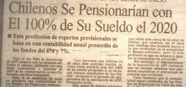 Chile – Las pensiones de las AFP cada vez son de montos menores