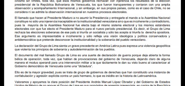 Socialistas Allendistas rechazan injerencista declaración suscrita por Piñera y el Grupo de Lima contra Venezuela y su gobierno.