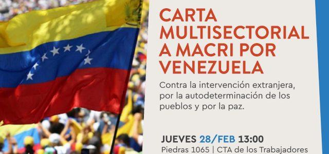 Argentina: Carta a Macri pidiendo por la Paz en Venezuela y la No injerencia en asuntos internos.