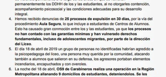 Carabineros ha ingresado violentamente a reprimir a estudiantes al Instituto Nacional, Darío Salas e INBA. Estudiante de básica herido