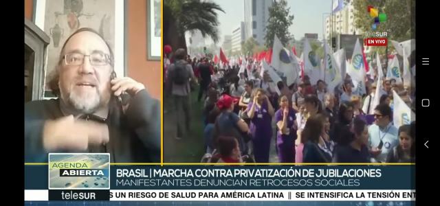 Mientras en Brasil se inicia la privatización de las Pensiones  en Chile crece la movilización por terminar las AFP. Análisis en TeleSUR de Esteban Silva.