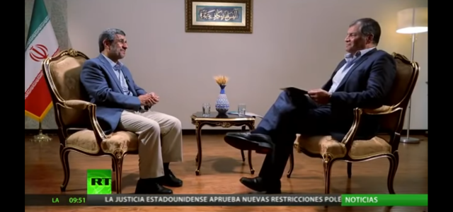 Ex Presidente del Ecuador, Rafael Correa conversa con Mahmud Ahmadineyad, ex Presidente de Irán en RT.