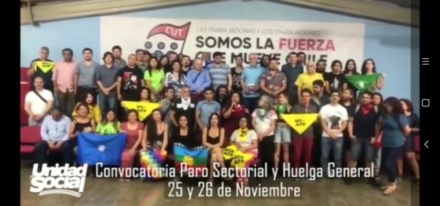 Unidad Social convoca a Huelga General progresiva los días 25 y 26 de noviembre