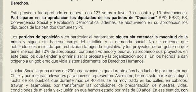 Unidad Social rechaza aprobación parlamentaria de la agenda represiva del gobierno de Piñera.