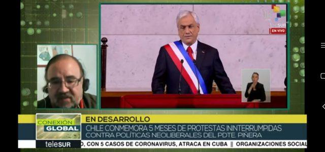Chile a 5 meses del estallido: «Piñera y el modelo neoliberal son una catástrofe para Chile.» Análisis de Esteban Silva en Telesur